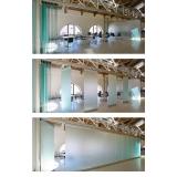 divisória de vidro com madeira